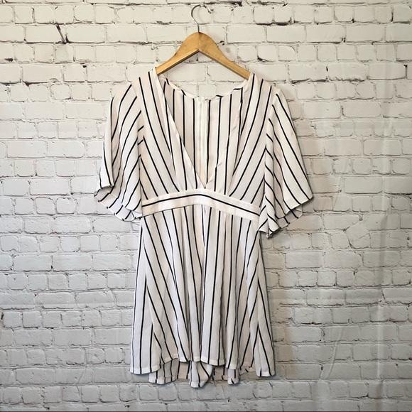 SHEIN Black White Striped Romper Jumpsuit Playsuit